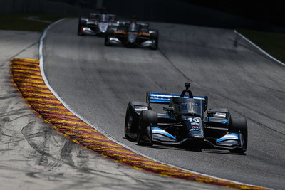 Honda-powered Felix Rosenqvist [#10 leading] came from behind to score his career-first Indy car win Sunday at Road America. Honda and the Chip Ganassi Racing team have won all four opening races in the 2020 NTT INDYCAR SERIES. (PRNewsfoto/Honda Racing/HPD)