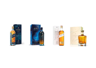 The whiskies pictured are: Johnnie Walker Blue Label 200th Anniversary Limited Edition Design, Johnnie Walker Blue Label Legendary Eight, John Walker & Sons Celebratory Blend, John Walker & Sons Bicentenary Blend.