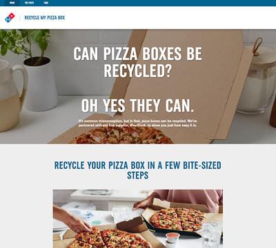 Contrario a la creencia popular, las cajas de pizza son reciclables aunque tengan algo de grasa. Domino's quiere que los clientes reciclen sus cajas de pizza vacías.