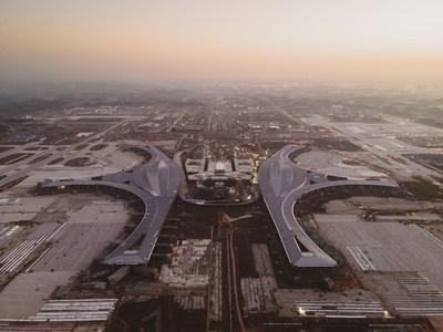 Obras de construcción del Aeropuerto Internacional de Chengdu Tianfu (PRNewsfoto/National Business Daily)