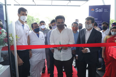 Inauguration of Sai Life Sciences' New Research & Technology Centre. Seen in the picture from left to right – Krishna Kanumuri, CEO & MD Sai Life Sciences, Sri K T Rama Rao, Hon'ble Minister for IT, Industries, MA & UD and Jayesh Ranjan, Principal Secretary to Government Industries and Commerce (PRNewsfoto/Sai Life Sciences)