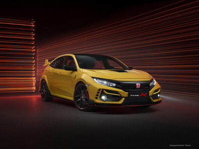 The 2021 Honda Civic Type R begins arriving in dealers today, heightened by the addition later this month of the ultimate street-legal Type R, the Limited Edition. Since its debut in 2017, Civic Type R has quickened the pulses of hot-hatch enthusiasts, earning widespread praise from media and owners alike. The new Limited Edition turns up Type R performance further still, with lower weight, improved handling, a higher-performance wheel and tire combination, and exclusive Phoenix Yellow paint.