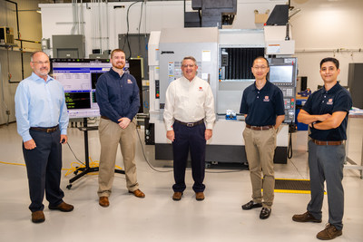The Interdisciplinary Center for Advanced Manufacturing at Auburn University, housed within the Department of Industrial and Systems Engineering, is led by Lewis Payton, associate research professor (left); Greg Purdy, assistant professor (second from left); Greg Harris, ICAMS director and associate professor (center); Peter Liu, assistant professor (second from right); and Konstantinos Mykoniatis, assistant professor (right).