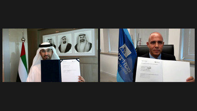 His Excellency Dr. Sultan Ahmed Al Jaber, UAE Minister of Industry and Advanced Technology and Chairman of the MBZUAI Board of Trustees, and Weizmann Institute President Professor Alon Chen, signed the Memorandum of Understanding (MoU).