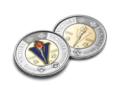 Moneda circulante de C$ 2 de la Casa Real de la Moneda de Canadá que celebra el 75o. aniversario del fin de la Segunda Guerra Mundial