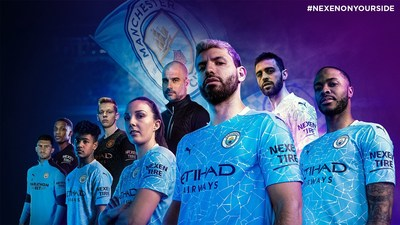 The Manchester City team sporting the official 20-21 kit with Nexen Tire, their official sleeve partner
