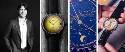 Justin Reis, WatchBox Global CEO + Co-Founder; and highlights from WatchBox's global inventory, including pre-owned timepieces by H. Moser & Cie, Patek Philippe, and F.P. Journe (PRNewsFoto/WatchBox)