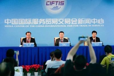 Breve conferencia de prensa de los funcionarios sobre los logros de la Feria Internacional de China de Comercio de Servicios (PRNewsfoto/Xinhua Silk Road)