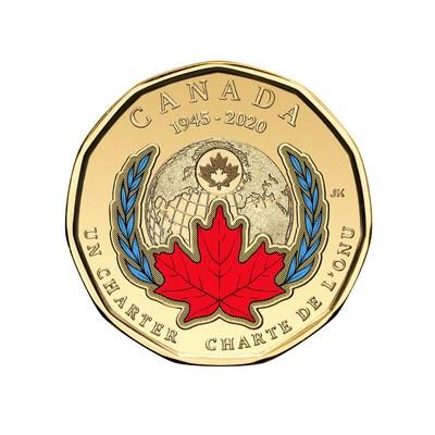 El loonie colorido de la Real Casa de la Moneda de Canadá conmemora el 75.° aniversario de la firma de la Carta de la ONU