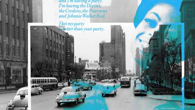 Vintage Johnnie Walker advertisement and billboard in 1950s Chicago