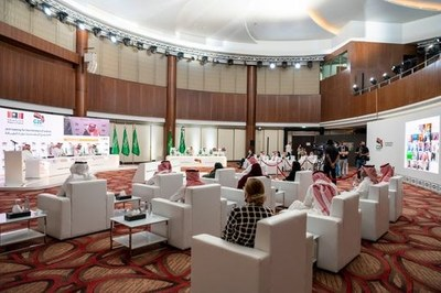Global cultural leaders listen to Saudi Minister of Culture HH Prince Badr bin Abdullah bin Mohammed bin Farhan deliver his opening remarks at the Joint Meeting for the Ministers of Culture on the sidelines of the G20.