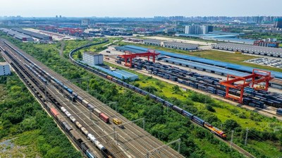 The China-Europe freight trains departing from Chengdu's Qingbaijiang district