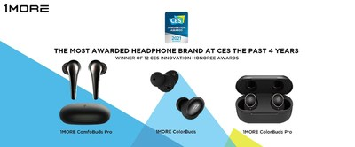 "This year's CES Innovation Awards mark 1MORE's 12th such award in just the past 4 years, and comes on the heels of launching 3 new true wireless products including 1MORE's ""AirPods Killer,"" ComfoBuds series."