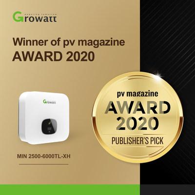 Winner of pv magazine AWARD 2020, Growatt new generation inverter MIN 2500-6000TL-XH