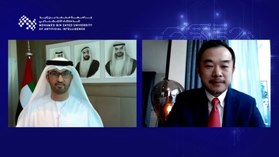 H.E. Dr. Sultan Ahmed Al Jaber and Professor Dr. Eric Xing