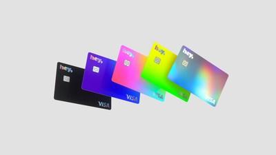 Las 5 tarjetas bancarias de la Colección 2021 de Hey Banco. Imagen: Brands&People + Hey Banco