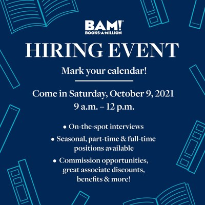 Books-A-Million aims to hire 1,000 new associates in one day at its nationwide Hiring Event ahead of the holiday shopping season.